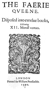 """The frontispiece of """"The Faerie Queene"""" by Edmund Spenser published in 1590."""